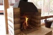 版築の暖炉